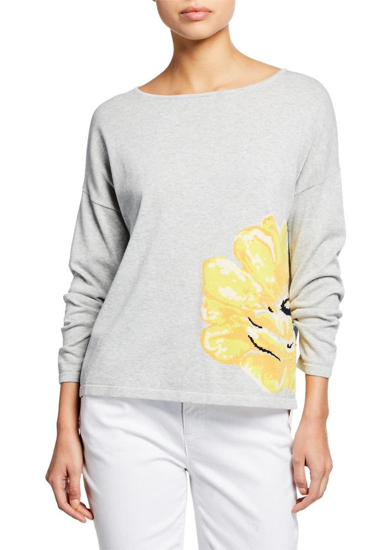 Joan Vass Plus Size Long-Sleeve Flower Intarsia Cotton Sweater