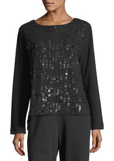 Joan Vass Plus Size Luxe Cotton Interlock Sequin-Front Top