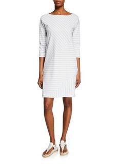 Joan Vass Plus Size Mini Striped Boat-Neck 3/4-Sleeve Cotton-Interlock Dress
