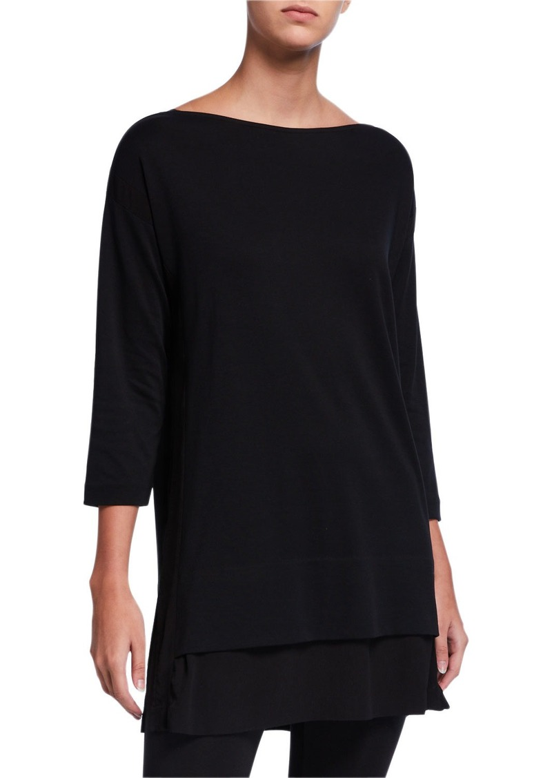 Joan Vass Plus Size Mixed Media 3/4-Sleeve Tunic