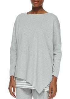 Joan Vass Plus Size Oversized Asymmetric Cotton Top