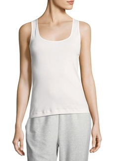 Joan Vass Plus Size Rib Scoop-Neck Layering Tank