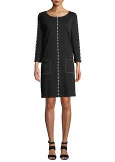 Joan Vass Plus Size Scoop-Neck 3/4-Sleeve Cotton Interlock Dress w/ Patch Pockets & Studded Trim