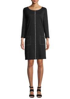 Joan Vass Plus Size Scoop-Neck 3/4-Sleeve Cotton Interlock Dress w/ Patch Pockets & Studded Trim