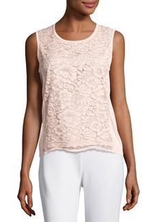 Joan Vass Plus Size Scoop-Neck Lace Shell  Light Pink