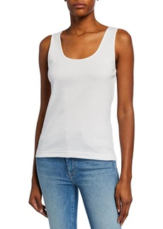 Joan Vass Plus Size Scoop-Neck Rib Tank