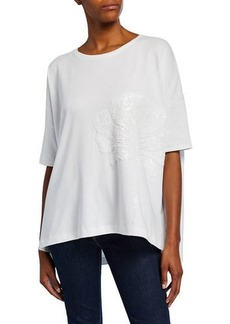 Joan Vass Plus Size Sequin-Flower Crewneck Half-Sleeve Big Tee