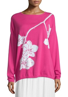 Joan Vass Plus Size Sequined Orchid Intarsia Sweater