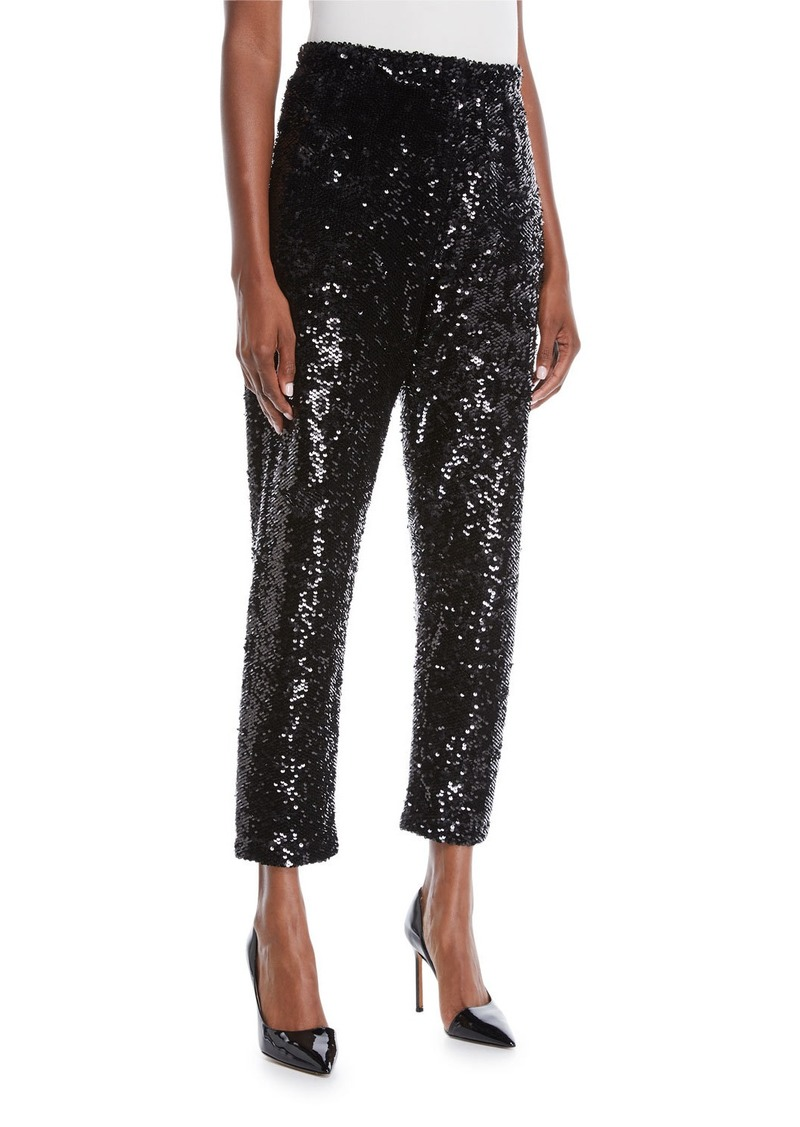 Joan Vass Plus Size Sequined Slim Ankle Pants