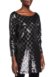 Joan Vass Plus Size Sequined Squares Boat-Neck Tunic