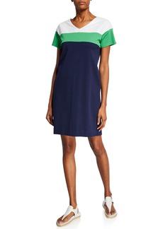 Joan Vass Plus Size Sequined-Top Colorblock Short-Sleeve Dress