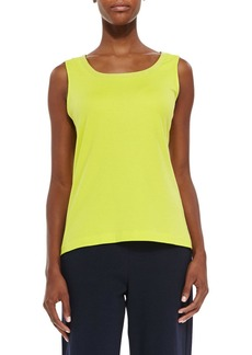 Joan Vass Plus Size Sequined Trim Tank  Wild Lime