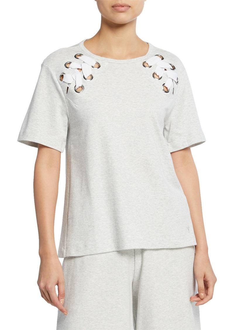 Joan Vass Plus Size Short-Sleeve Cotton Interlock Swing Top w/ Lacing Detail