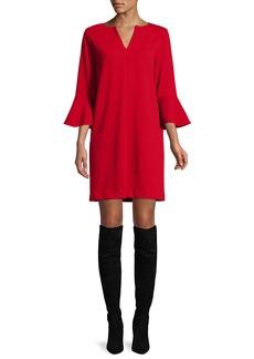 Joan Vass Plus Size Slit-Neck 3/4 Bell Sleeve A-Line Crepe Dress