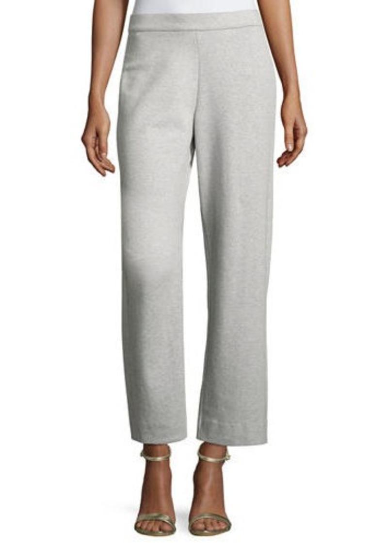 Joan Vass Plus Size Stretch-Interlock Ankle Casual Pants