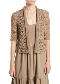 Joan Vass Plus Size Tape Yarn Knit Cardigan