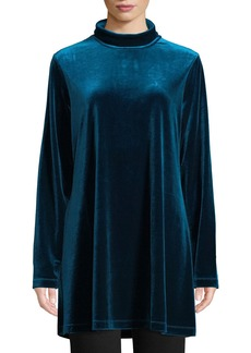 Joan Vass Plus Size Velour Long-Sleeve Turtleneck Tunic