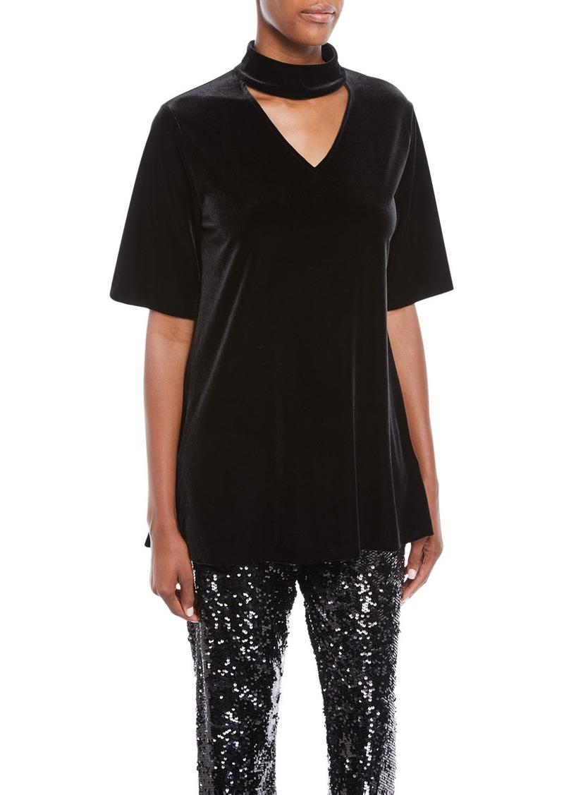 Joan Vass Plus Size Velvet Choker Tunic
