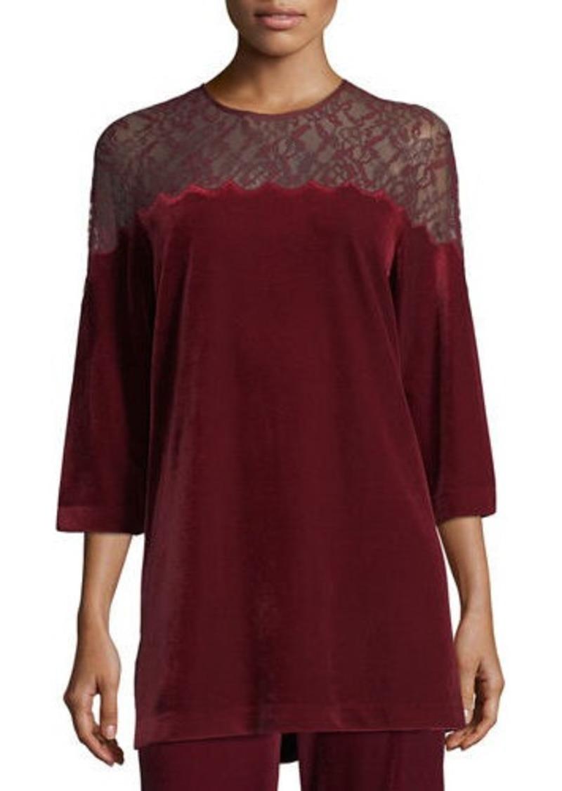 Joan Vass Plus Size Velvet Tunic w/ Lace Yoke