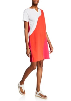 Joan Vass Plus Size Wave Colorblock Slit-Neck Short-Sleeve Stretch-Pique Dress