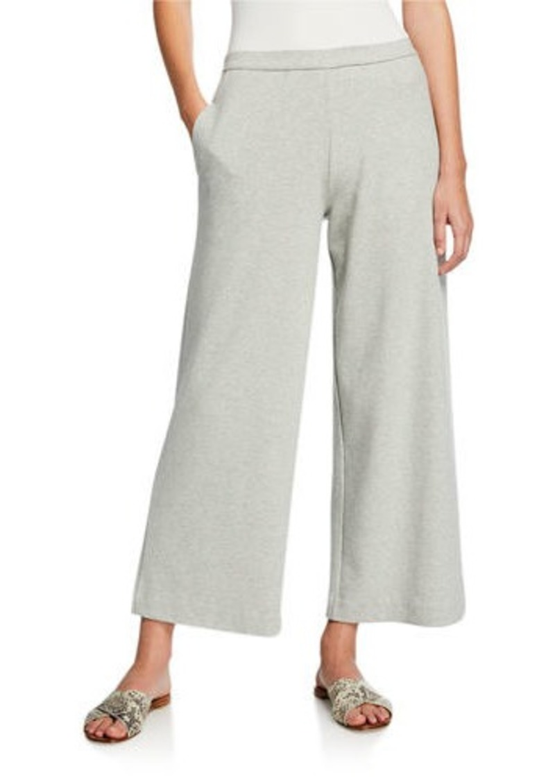 Joan Vass Plus Size Wide-Leg Crop Pants with Pockets