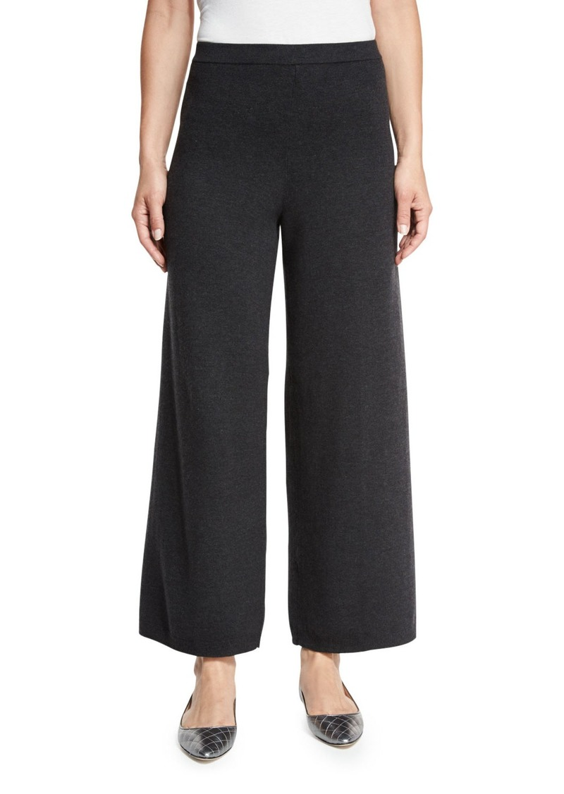 Joan Vass Plus Size Wide-Leg Knit Pants  Charcoal