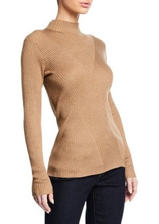 Joan Vass Rib-Stitch Turtleneck Sweater