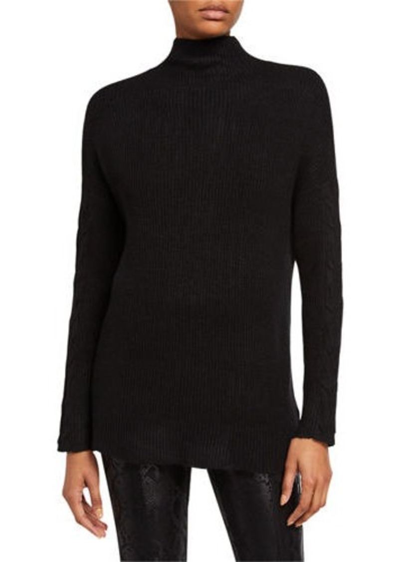 Joan Vass Ribbed Cable-Sleeve Pullover