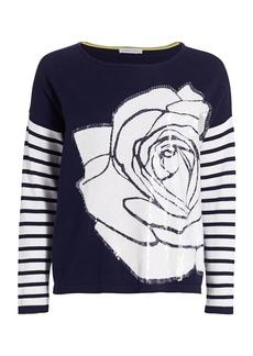 Joan Vass Rose Intarsia Sequin Sweater
