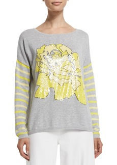 Joan Vass Rose/Striped Sweater