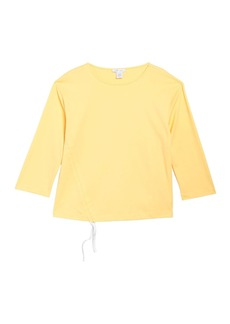 Joan Vass Ruched 3/4 Sleeve Top