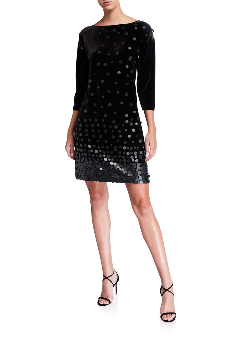 Joan Vass Sequin Front Boat-Neck 3/4-Sleeve Velvet Dress