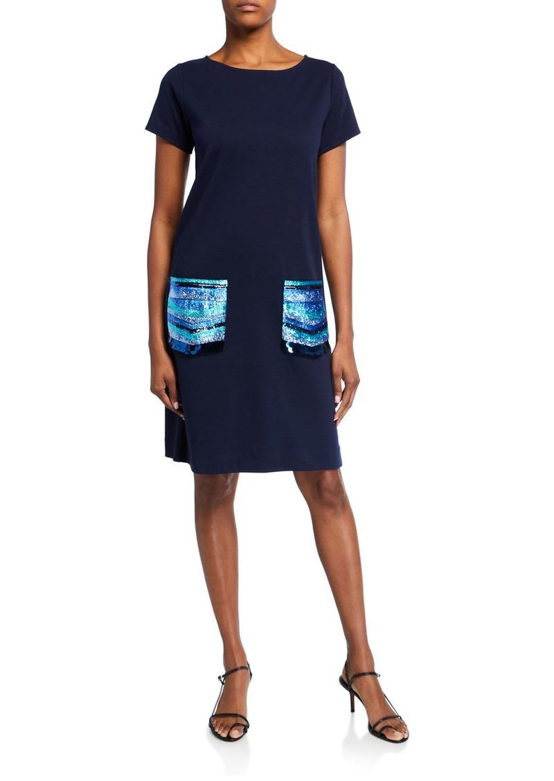 Joan Vass Sequin Pocket Short-Sleeve Dress