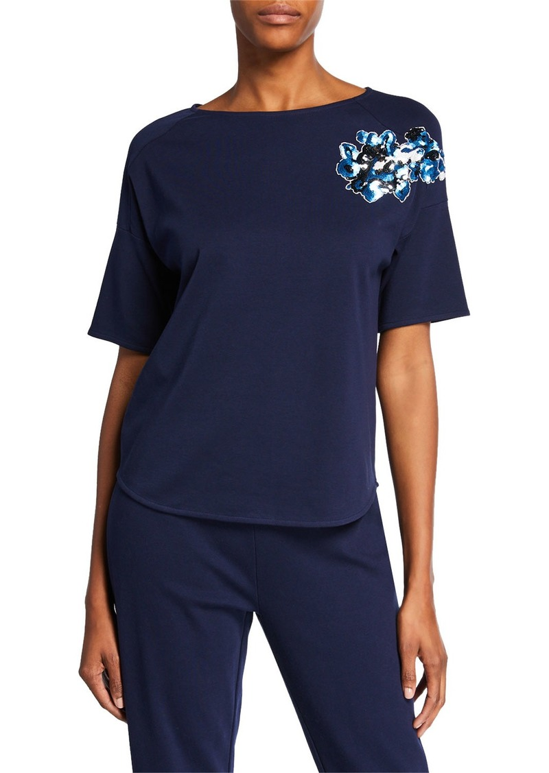 Joan Vass Sequined Flower Short-Sleeve Cotton Interlock Tee