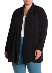 Joan Vass Shawl Collar Open Front Cardigan (Plus Size)