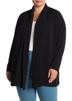 Joan Vass Shawl Collar Open Front Cardigan (Plus Size)
