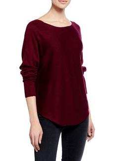 Joan Vass Shirttail-Hem Long-Sleeve Sweater
