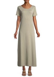 Joan Vass Petite Short-Sleeve A-line Long Dress
