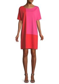 Joan Vass Short-Sleeve Colorblock Dress