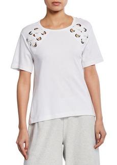 Joan Vass Short-Sleeve Cotton Interlock Swing Top w/ Lacing Detail