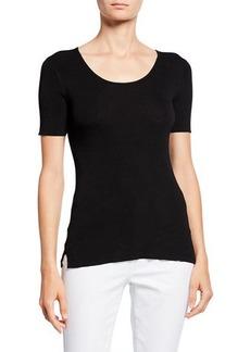 Joan Vass Short-Sleeve Ribbed Top