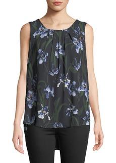 Joan Vass Sleeveless Pleated Floral Top W/Chiffon Hem