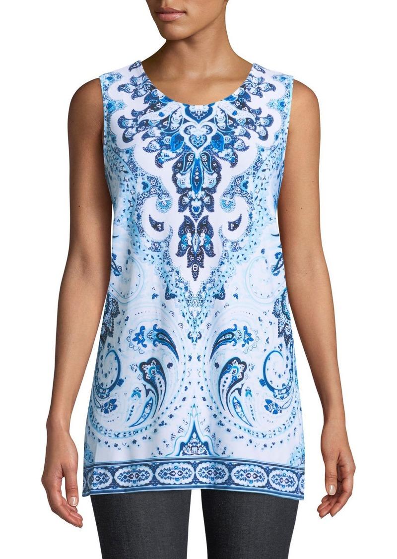 2513b5cf0 Joan Vass Sleeveless Tile-Print Side-Slit Tunic | Casual Shirts