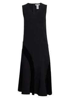 Joan Vass Sleeveless Velvet Blocked Flare Dress