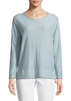 Joan Vass Slub-Knit Pullover High-Low Tee
