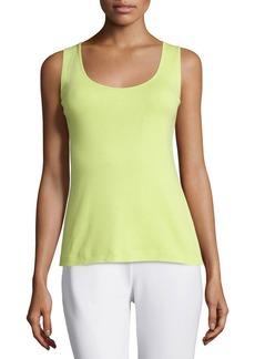 Joan Vass Soft Scoop-Neck Tank  Lime  Plus Size