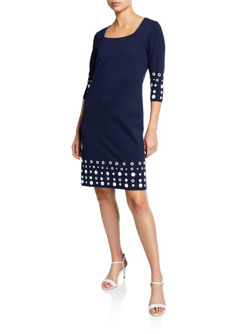 Joan Vass Square-Neck 3/4-Sleeve Dress with Circle Border Trim
