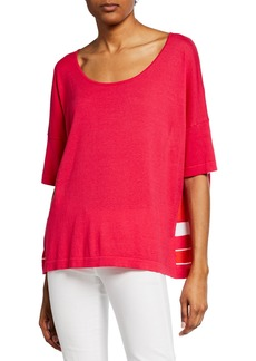 Joan Vass Striped-Back Scoop-Neck Short-Sleeve Sweater