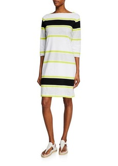 Joan Vass Striped Bateau-Neck 3/4-Sleeve Dress