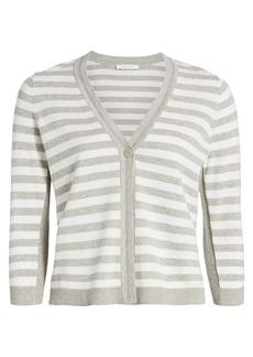 Joan Vass Striped Button-Up Cardigan
